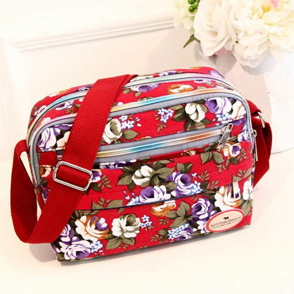 Amazon.com: Goddessvan Fashion Women Floral Canvas Crossbody ...