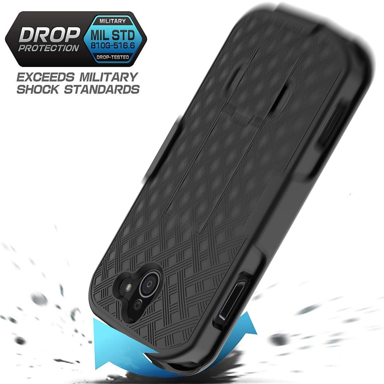 Double Shockproof and Ultra-Thin Scratch-Proof Protection Cover,Kickstand Bumper Heavy Duty Phone Case-Black Kyocera Duraforce Pro 2