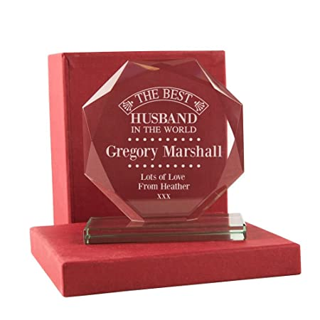 Husband Birthday Gift Personalised Best Engraved Glass Keepsake With Box Gifts Amazoncouk Kitchen Home
