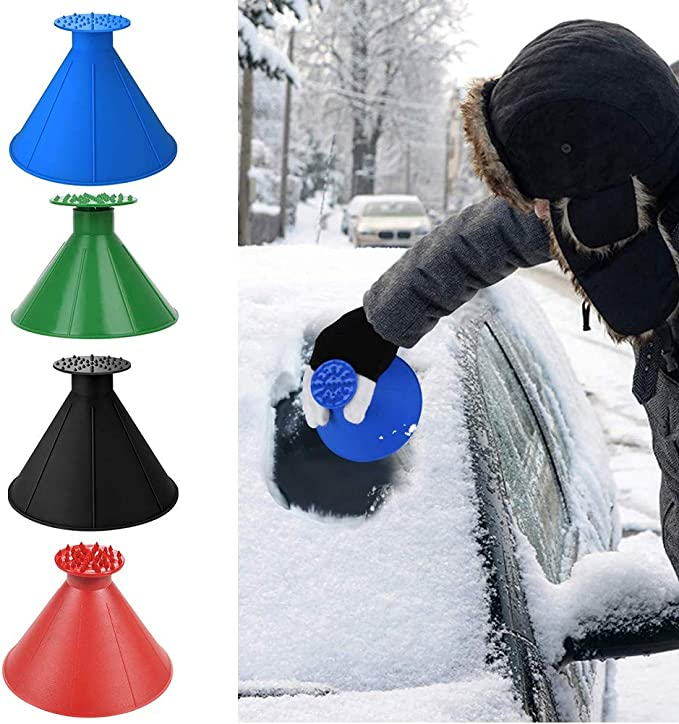 Lyklasse Ice Scraper with 6 PCS Ice Breakers Car Windshield Cone-Shaped Funnel Snow Removal Tool