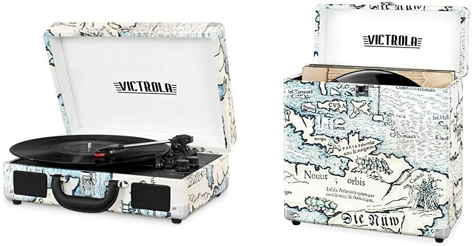Victrola Bluetooth Suitcase Record Player with 3-Speed Turntable & Storage case for Vinyl Turntable Records