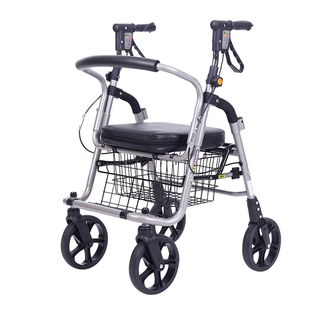 ショッピングカートアルミ合金老人プッシュショッピングカートウォーカー歩行器四輪は折りたたみ式高さ調節可能な軽量ショッピングカート (Color : Black) B07S1KBBN1 Black