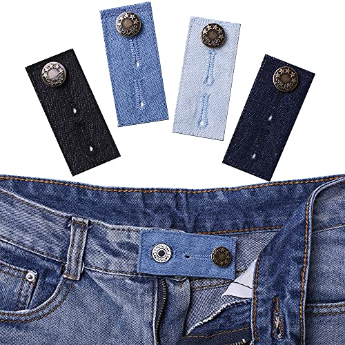 Denim Waist Extender Button for Jeans and Skirt Comfy Metal Buttons, 4Pcs Assorted Colors