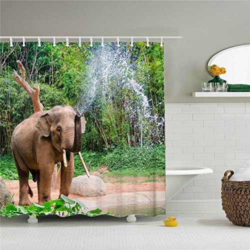 Curtain Bamboo Shower Rings - Wings A shower curtain, an elephant in the bamboo woods playing with water. 3D printing - Waterproof, Mildew resistant, Machine Washable - Shower Hooks are Included