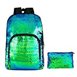 HeySun Flip Sequins Backpack for School Glitter Bookbag for Girls with Pencil Pouch(Teal/Black)
