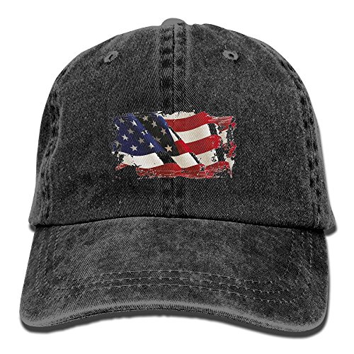 NO4LRM Men's Women's American Flag 3D Cotton Adjustable Peaked Baseball Dyed Cap Adult Washed Cowboy Hat