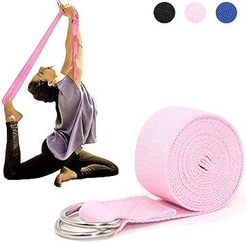 Tumaz Cintur/ón de Yoga//Correa Yoga Fisioterapia Textura Delicada Hebilla Anillo-D Ajustable Extra Segura Fitness Mejor en Estiramientos Diarios 15+ Color, 180//240//300 cm Duradera y C/ómoda