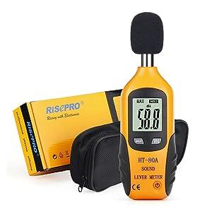 RISEPRO Decibel Meter, Digital Sound Level Meter 30 – 130 dB Audio Noise Measure Device Dual Ranges HT-80A