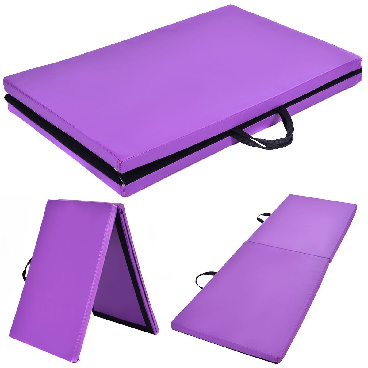 Purple Zipper Gymnastics Mat Stretching Yoga Folding Panel Thick by DTOFREE