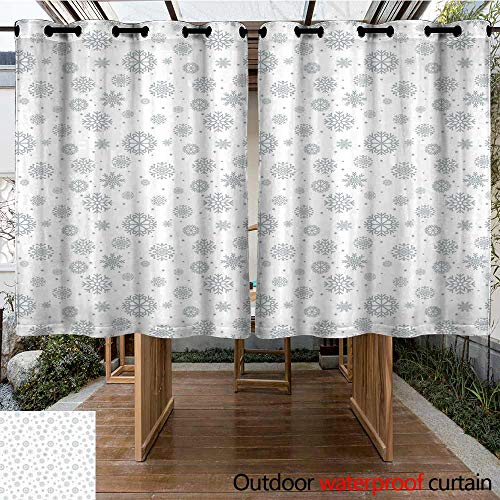 Outdoor Curtain Panel for Patio Winter Pattern with Ornate Snowflake Motifs and Dots Retro Christmas Inspired Repetitive for Porch&Beach&Patio 108