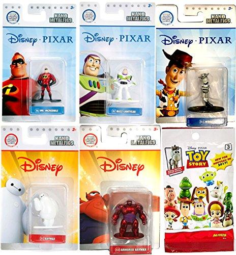 Disney Pixar Figure Pack Mini Metal Woody Black & White Mr. incredible, Buzz Lightyear / Baymax & Armored Red Big Hero 6 + Bonus Toy Story Blind Bag Buddies Mini Figure