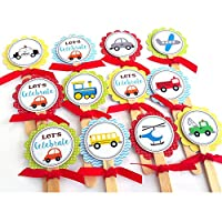 Transportation Cupcake Toppers - Children Boy Girl Birthday Baby Shower Party Supplies - Set of 12