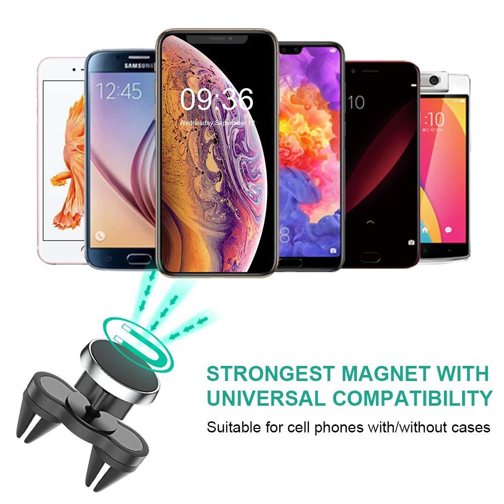 Cocoda Supporto Auto Smartphone Magnetico Robusto Clip Doppio Ventilatore Universale 360/° Regolabile Liberamente Porta Cellulare da Auto per Smartphones