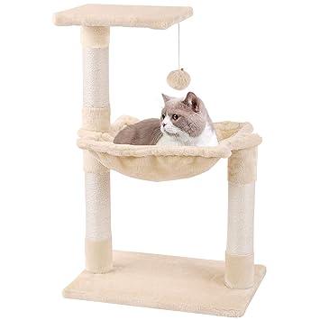 KExing Árboles para Gatos Rascador para Gatos Sisal Plush con Pelota Hamaca 70cm Beige