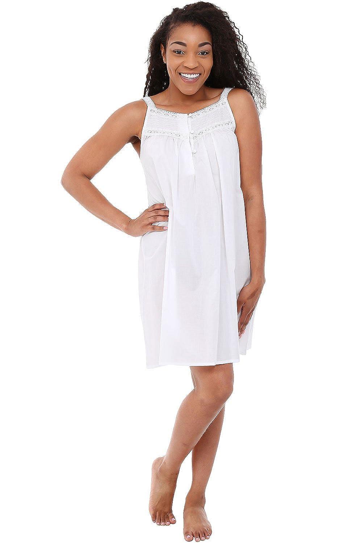 Alexander Del Rossa Womens Helena Cotton Nightgown, Short Sleeveless Victorian Sleepwear