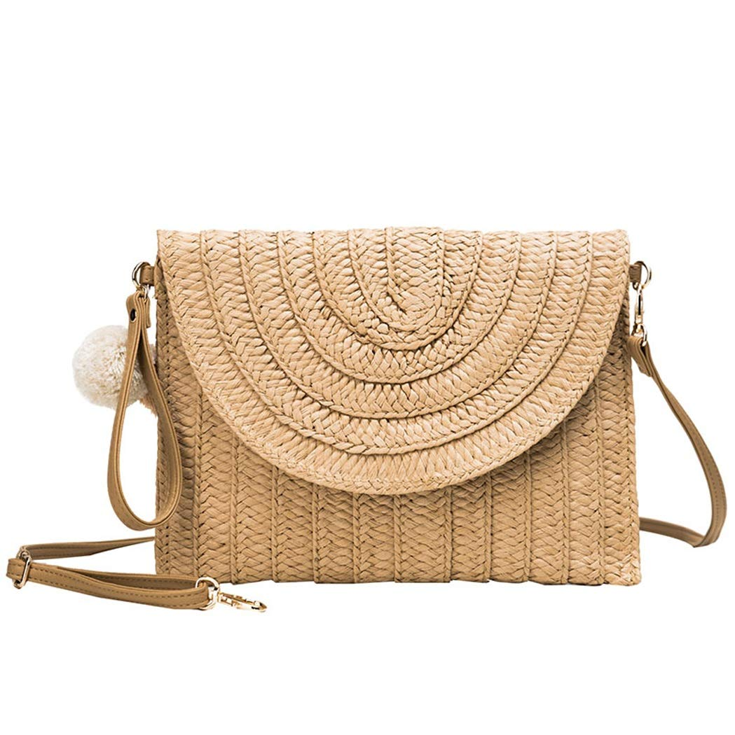 Color : Beige, Size : 27.528213cm OUSHINA Summer Small Fresh Messenger Bag Wild Ins Fashion Shoulder Bag Simple Straw Bag