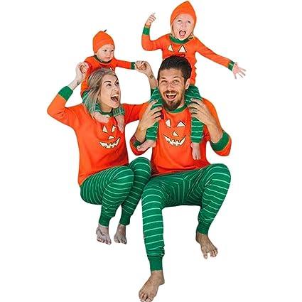 f6c9377374c WensLTD Pajamas Halloween Pumpkin Family Pajamas Set 100% Cotton 2 Piece Long  Sleeve T-