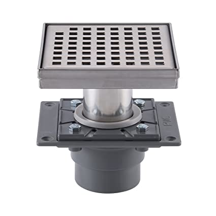 KES Square Shower Floor Drain With Rubber Base And Removable Grate - Rubber grate flooring