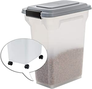 Iris Ohyama, Pet Food Storage Container 20 L for 7,5 kg, flip-up lid, airtight, Transparent, Shovel & Scoop, for Dog & cat Food - Air Tight Food Container ATS-M - Grey