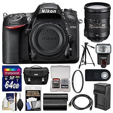 Nikon D7200 Wi-Fi Digital SLR Camera Body with 18-200mm VR II Lens + 64GB Card + Case + Flash + Battery/Charger + Tripod + (Nikon D7200 Body)
