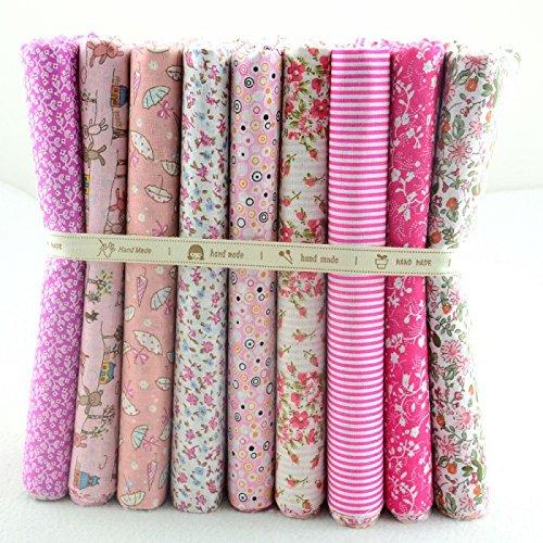 OPEN BUY 9 Telas rosas florales de 50 X 50 cm negros para manualidades, costura, scrapbooking, patchwork, vestidos muñecos de trapo, guirnaldas cojines, toallas