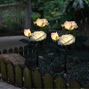 Solar Garden Lights Outdoor Decorative Rose Flowers Lights LED Color Changing Solar Stake Lights Waterproof for Garden, Courtyard, Backyard Decoration Perfect Valentine's Day Gift (White)