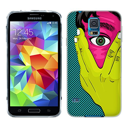 Head Case Designs Man Peeking Peek-A-Boo Graphic Pop Gel Back Case Cover for Samsung Galaxy S5