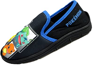 Kids Childrens Pokemon Character Pikachu Black Slippers Boys Mules Size 8-2