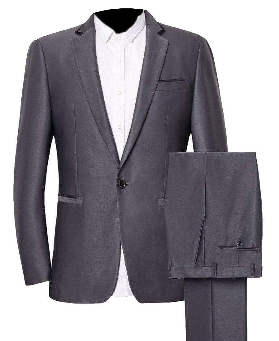 1 LEISHOP Men's Slim One Button 2 Piece Suit Business Wedding Casual Blazer Pants