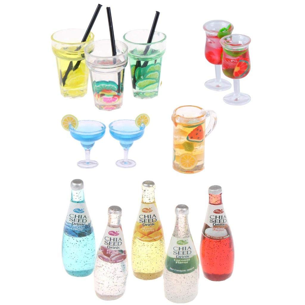 CoscosX 13 Pcs 1:12 Colourful Cocktail Cup Drink Juice Tea Beverage Bottle Jam Jar Toys,Simulation Drink Wine Glass Model for Dollhouse,Dolls House Miniature Toy Doll Food Kitchen Accessory Bar Decor