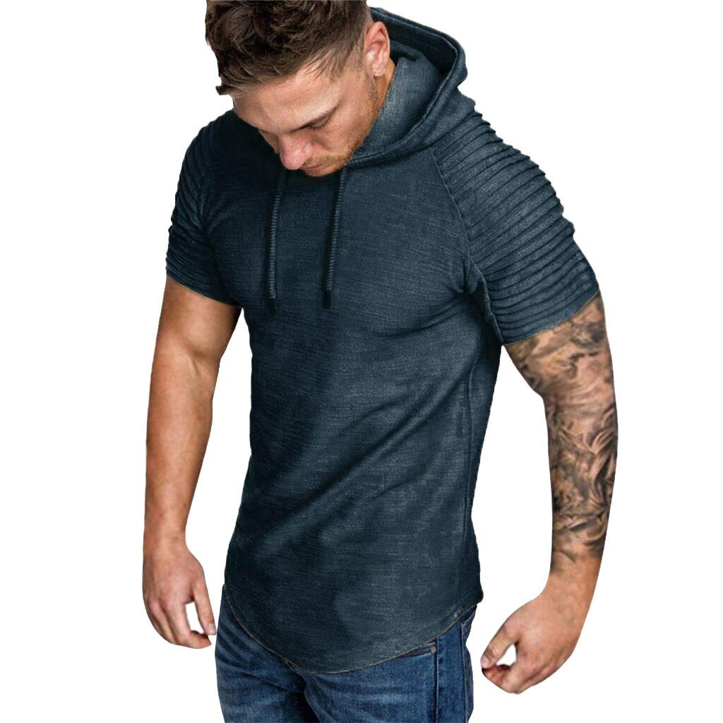 Men Hooded Sweatshirt, JOYFEEL Casual Summer Pleats Slim Fit Sport Tops Plus Size Short Sleeve Hoodie Summer& Spring