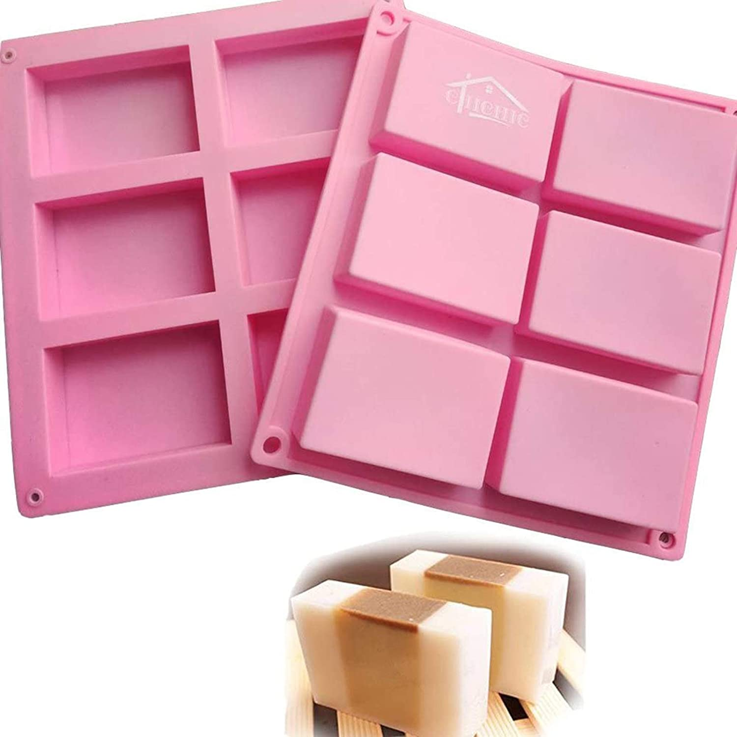 6-Cavity Rectangle Soap Mold Silicone Baking Mould Tray For Homemade Craft QK