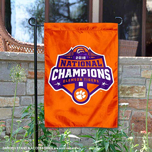 (College Flags and Banners Co. Clemson Tigers 2018 CFP Football National Champions Garden Flag)