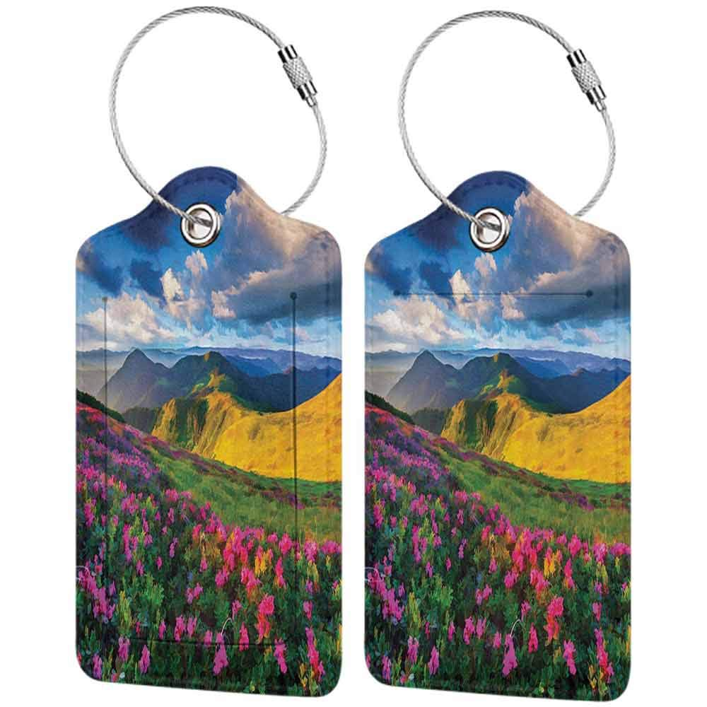 Durable luggage tag Lakehouse Decor Collection Watercolor Painting Looking Pink Rhododendron Flowers and Mountain in Summer with Partly Cloudy Sky Print Unisex Yellow Navy W2.7 x L4.6