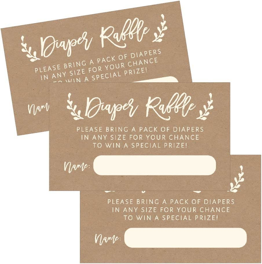 25 Diaper Raffle Ticket Lottery Insert Cards for Rustic Kraft Baby Shower Invitations, Supplies and Games for Baby Reveal Party, Gender Neutral Bring a Pack of Diapers to Win Favors, Gifts and Prizes