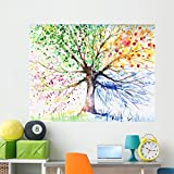 Wallmonkeys Four Season Tree Wall Mural Peel and Stick Graphic (60 in W x 47 in H) WM321317