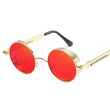 560a235d85c9c Amazon.com  Gothic Steampunk Sunglasses Women Men Retro Round Metal Steam  Punk Goggles Mirrored