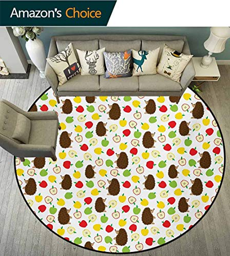 - RUGSMAT Hedgehog Warm Soft Cotton Luxury Plush Baby Rugs,Cute Baby Mammals with Lively Colored Apples Cut in Half Food Cheerful Wildlife Kids Teepee Tent Game Play House Round,Round-31 Inch