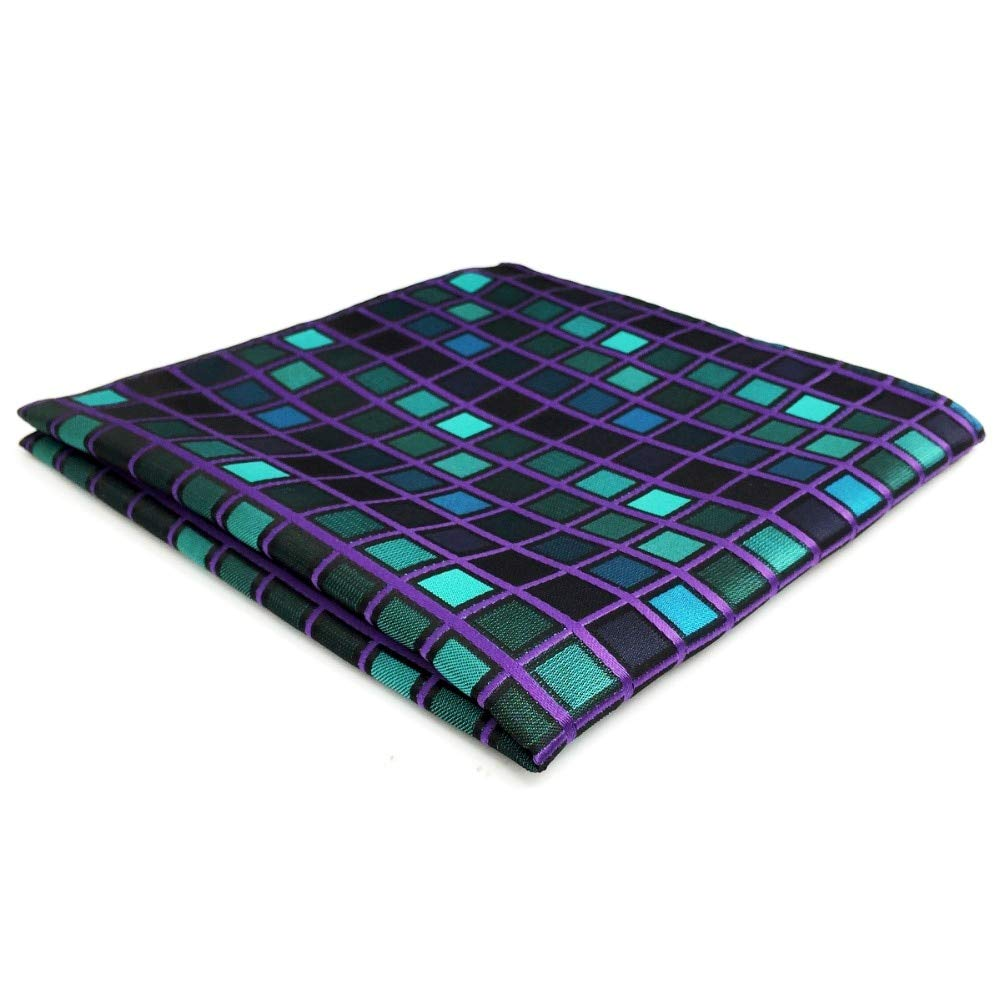Shlax& Wing Checkered Blue Green Purple Pocket Square For Men Business Checks Hanky DH10
