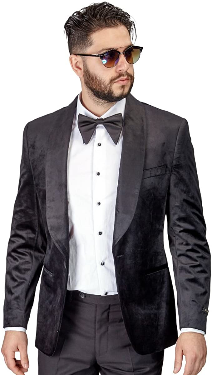 AZAR MAN Slim Fit Men Tuxedo//Fashion Suit 1 Button Shawl Velvet Lapel Black