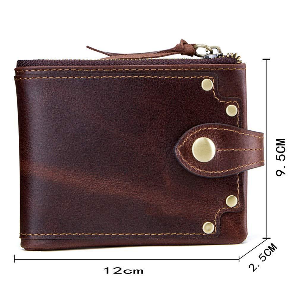 - Men's Short Wallet Wallet Wallet Rivet Decorative Wallet Short Coin Purse Card Bag Small Clutch Bag Key Bag, Coffee, 12  9.5cm cb20d0