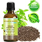 """Botanical Beauty Organic Chia Seed Oil. 100% Pure / Natural / Undiluted / Cold Pressed Carrier Oil For Skin, Hair, Lip And Nail Care. """"A Remarkable And Stable Source Of Omega-3,6,9, B-Vitamins And Minerals."""" 0.33 Fl.oz-10ml."""