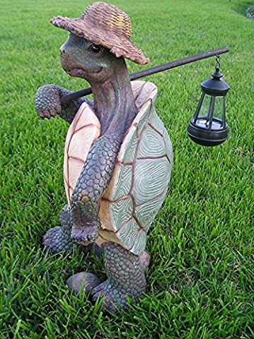 Atlantic Collectibles Nature Hiking Turtle Tortoise Statue With Solar Powered Lantern LED Light Patio Decor Indoor Outdoor - Collectibles