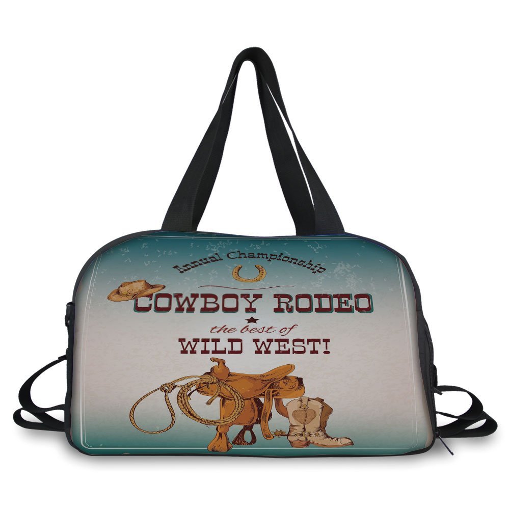iPrint Travelling bag,Western,Cowboy Rodeo Championship The Best of Wild West Poster Design Elements Decorative,Blue Burgundy Orange ,Personalized