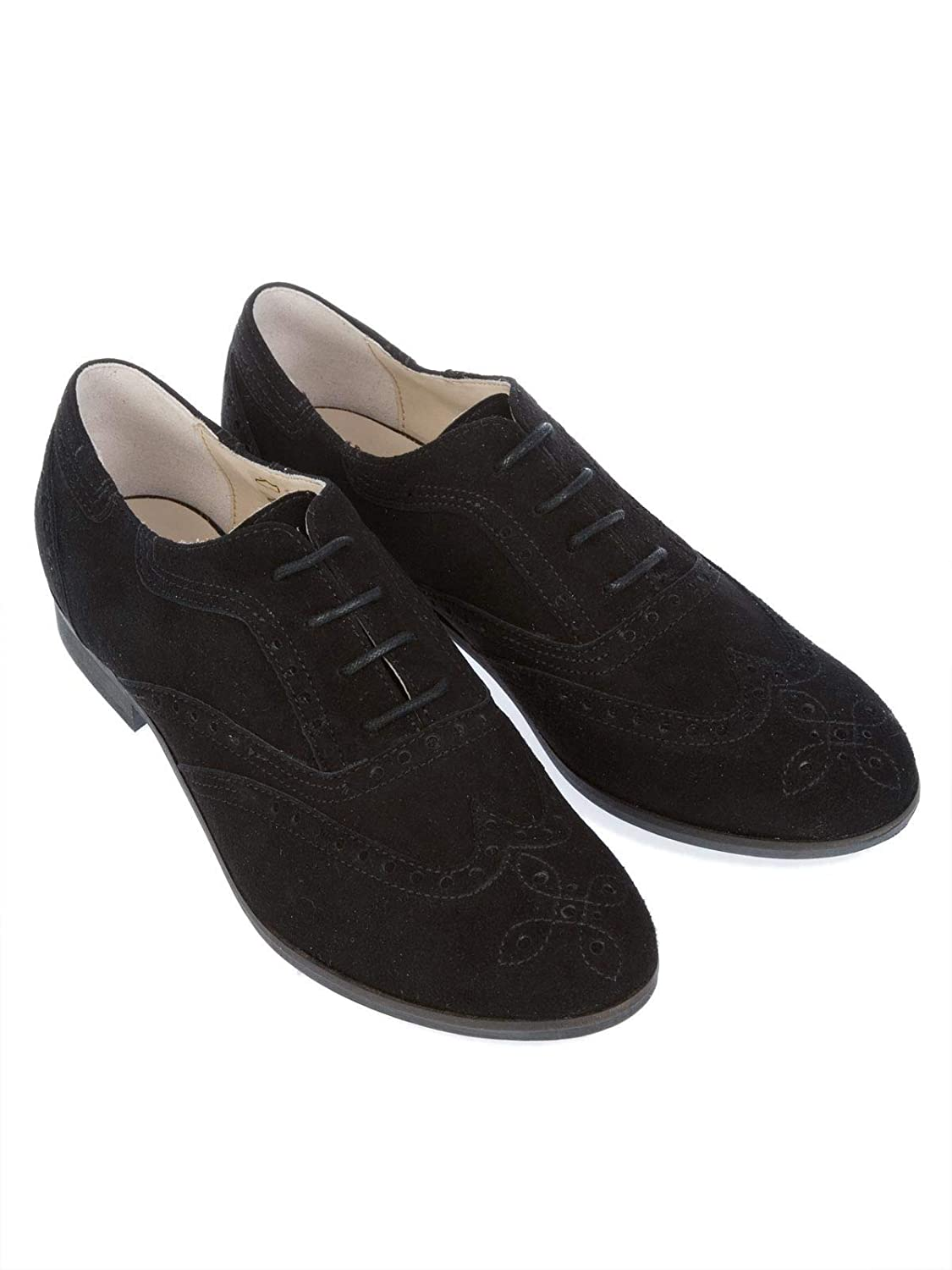 PEPEROSA Womens N7101NERO Black Suede Lace-Up Shoes