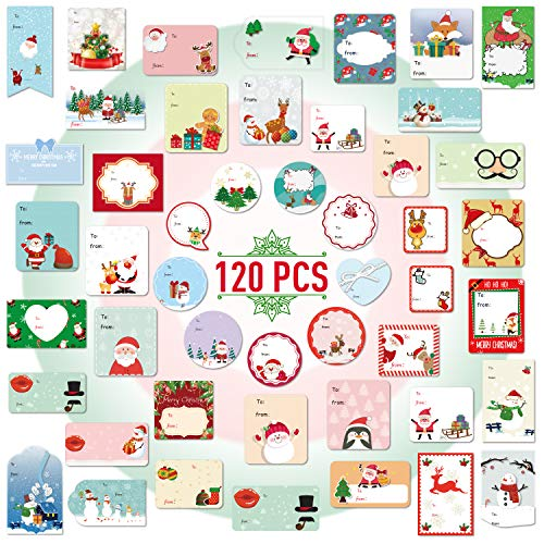 Joyjoz Christmas Gift Tag Stickers Labels Self Adhesive Santa Snowmen Xmas Tree Deer Christmas Festival Birthday Wedding Holiday Decorative Presents Labels Decals Christmas Gift for Friends 120 Pack