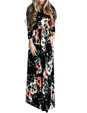 b51d61dd4016 YOUCOO Women's Floral Print Long Sleeve Loose Plain Maxi Dresses Casual Long  Dresses with Pockets Black