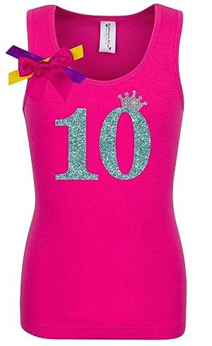 Bubblegum Divas Big Girls' 10th Birthday Hot Pink Princess Shirt