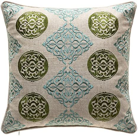 TINA S HOME Embroidery Linen Medallion Decorative Throw Pillows Toss Pillows for Living Room Couch Sofa Bed Decor 18 x 18 inches, Green Teal