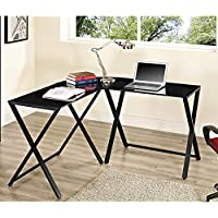 New Black X-frame Glass and Metal L-shaped Computer Desk